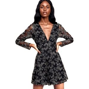 Lulu's Enraptured Black Embroidered Skater Dress